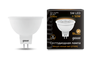 Лампа Gauss LED MR16 GU5.3 5W 500lm 3000K 1/10/100