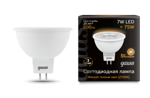 Лампа Gauss LED MR16 GU5.3 7W 600lm 2700K 1/10/100