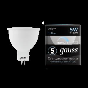 Лампа Gauss LED MR16 GU5.3-dim 5W 530lm 4100K  диммируемая 1/10/100