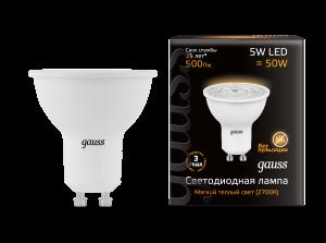 Лампа Gauss LED MR16 GU10 5W 500lm 3000K 1/10/100