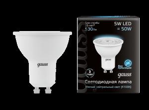Лампа Gauss LED MR16 GU10 5W 530lm 4100K 1/10/100
