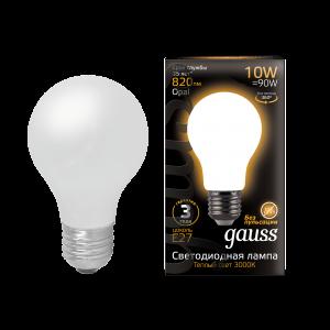 Лампа Gauss LED Filament A60 OPAL E27 10W 820lm 2700К 1/10/40
