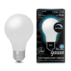 Лампа Gauss LED Filament A60 OPAL dimmable E27 10W 860lm 4100К 1/10/40
