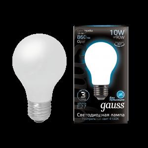 Лампа Gauss LED Filament A60 OPAL E27 10W 860lm 4100К 1/10/40