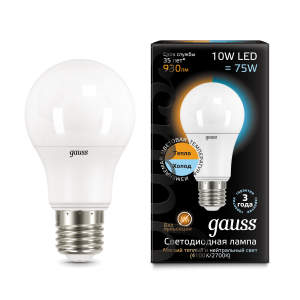 Лампа Gauss LED A60 10W E27 930lm 2700K/4100K CTC 1/10/50