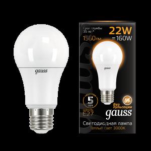 Лампа Gauss LED A70 22W E27 1560lm 3000K 1/10/50