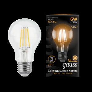 Лампа Gauss LED Filament A60 E27 6W 600lm 2700К 1/10/40