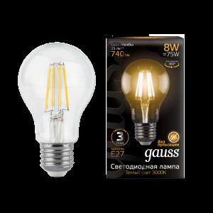 Лампа Gauss LED Filament A60 E27 8W 740lm 2700К 1/10/40