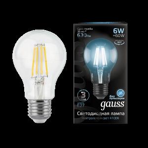 Лампа Gauss LED Filament A60 E27 6W 630lm 4100К 1/10/40