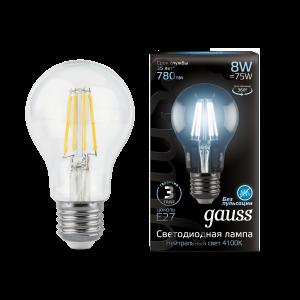 Лампа Gauss LED Filament A60 E27 8W 780lm 4100К 1/10/40