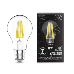 Лампа Gauss LED Filament Graphene A60 E27 12W 1280lm 4100К 1/10/40