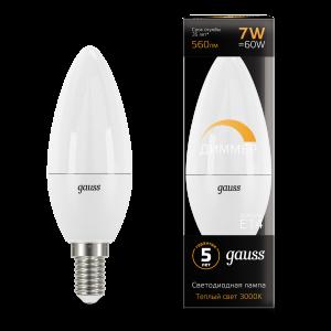 Лампа Gauss LED Свеча-dim E14 7W 560lm 3000К диммируемая 1/10/100