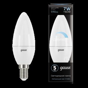 Лампа Gauss LED Свеча-dim E14 7W 590lm 4100К диммируемая 1/10/100