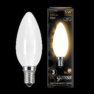 Лампа Gauss LED Filament Свеча OPAL E14 5W 420lm 2700К 1/10/50