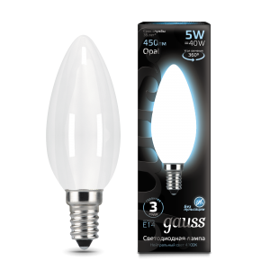 Лампа Gauss LED Filament Свеча OPAL E14 5W 450lm 4100К 1/10/50