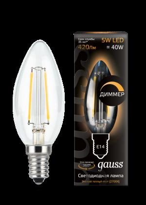 Лампа Gauss LED Filament Свеча dimmable E14 5W 420lm 2700К 1/10/50