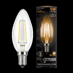 Лампа Gauss LED Filament Свеча E14 5W 420lm 2700К 1/10/50