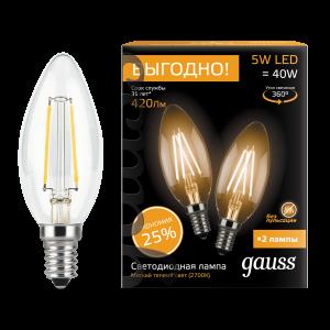Лампа Gauss Filament Свеча E14 5W 2700К 2/50 (2 лампы в упаковке)