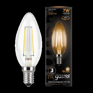 Лампа Gauss LED Filament Свеча E14 7W 550lm 2700К 1/10/50