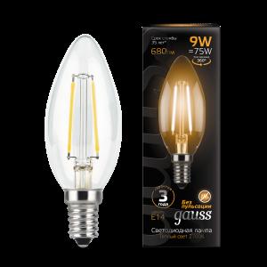 Лампа Gauss LED Filament Свеча E14 9W 680lm 2700К 1/10/50
