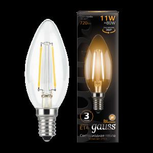 Лампа Gauss LED Filament Свеча E14 11W 720lm 2700К 1/10/50