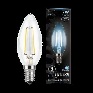 Лампа Gauss LED Filament Свеча E14 7W 580lm 4100К 1/10/50