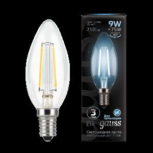 Лампа Gauss LED Filament Свеча E14 9W 710lm 4100К 1/10/50