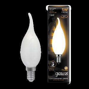 Лампа Gauss LED Filament Свеча на ветру OPAL E14 5W 420lm 2700К 1/10/50