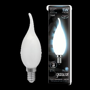 Лампа Gauss LED Filament Свеча на ветру OPAL E14 5W 450lm 4100К 1/10/50
