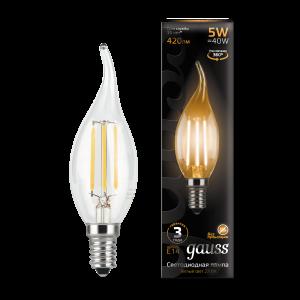 Лампа Gauss LED Filament Свеча на ветру E14 5W 420lm 2700K 1/10/50