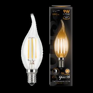 Лампа Gauss LED Filament Свеча на ветру E14 9W 680lm 2700K 1/10/50