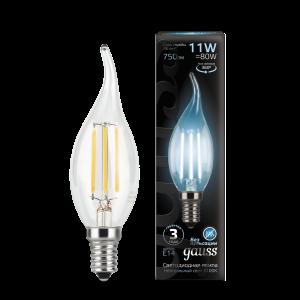Лампа Gauss LED Filament Свеча на ветру E14 11W 750lm 4100K 1/10/50