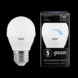 Лампа Gauss LED Шар-dim E27 7W 590lm 4100К диммируемая 1/10/100