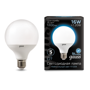 Лампа Gauss LED G95 E27 16W 1400lm 4100K 1/32
