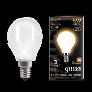 Лампа Gauss LED Filament Шар OPAL E14 5W 420lm 2700K 1/10/50