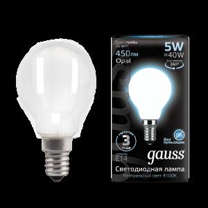 Лампа Gauss LED Filament Шар OPAL E14 5W 450lm 4100K 1/10/50