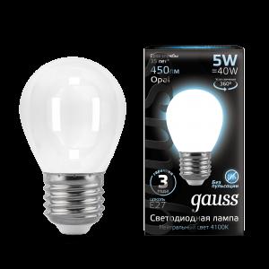 Лампа Gauss LED Filament Шар OPAL E27 5W 450lm 4100K 1/10/50