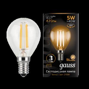 Лампа Gauss LED Filament Шар E14 5W 420lm 2700K 1/10/50