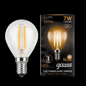 Лампа Gauss LED Filament Шар E14 7W 550lm 2700K 1/10/50