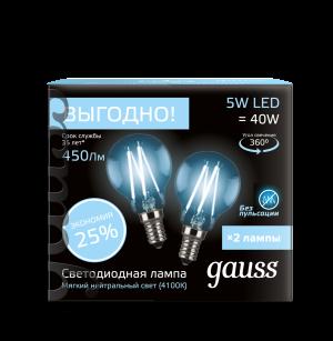 Лампа Gauss Filament Шар E14 5W 4100К 2/100 (2 лампы в упаковке)
