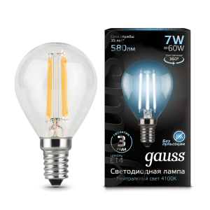 Лампа Gauss LED Filament Шар E14 7W 580lm 4100K 1/10/50