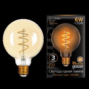 Лампа Gauss LED Filament G95 Flexible E27 6W Golden 360lm 2400К 1/20