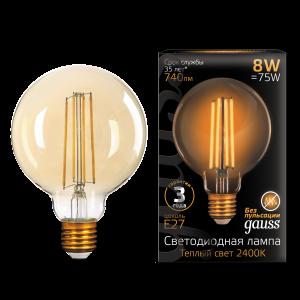 Лампа Gauss LED Filament G95 E27 8W Golden 740lm 2400К 1/20