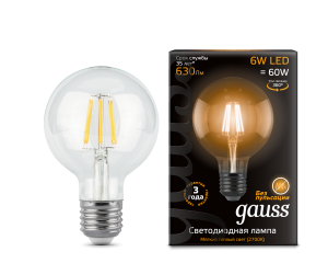 Лампа Gauss LED Filament G95 E27 6W 630lm 2700K 1/20