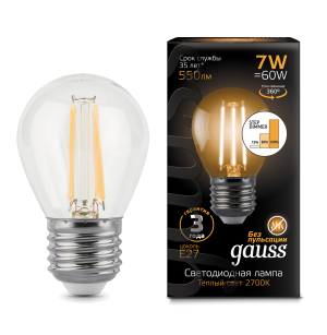 Лампа Gauss LED Filament Шар E27 7W 550lm 2700K step dimmable 1/10/50