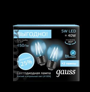 Лампа Gauss Filament Шар E27 5W 4100К 2/100 (2 лампы в упаковке)