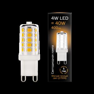 Лампа Gauss LED G9 AC185-265V 4W 400lm 2700K керамика 1/10/200