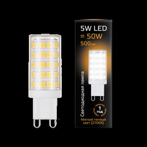 Лампа Gauss LED G9 AC185-265V 5W 500lm 2700K керамика 1/10/200