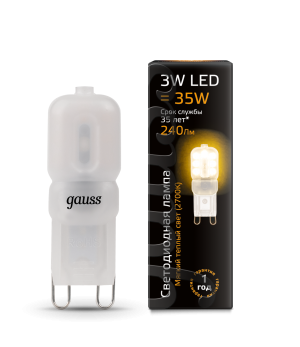 Лампа Gauss LED G9 AC220-240V 3W 240lm 2700K пластик 1/10/200