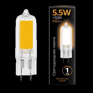 Лампа Gauss LED G4 AC220-240V 5.5W 480lm3000K Glass 1/10/200